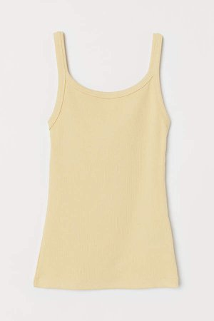 Ribbed Jersey Tank Top - Yellow