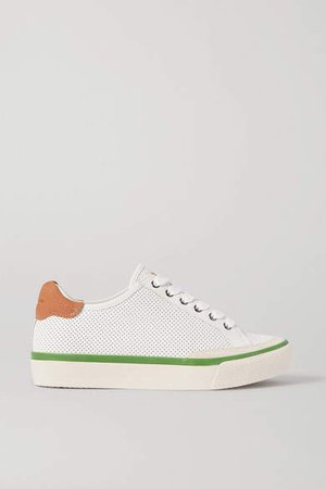 Army Suede-trimmed Perforated Leather Sneakers - White