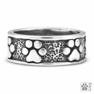 Dog paw ring, dog paw print ring, Never ending paw print ring, Sterling silver paw print ring, sterling silver dog paw ring, paw ring, dog paw ring, sterling silver dog paw ring, never ending paw ring,