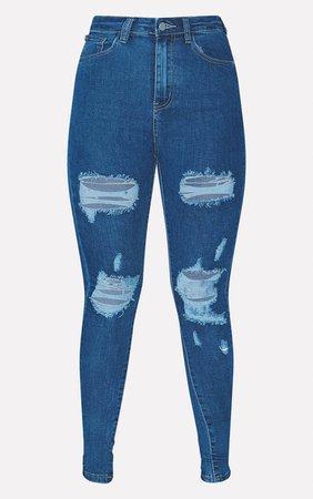 Plt Mid Wash Distressed Skinny Jean   Curve   PrettyLittleThing USA