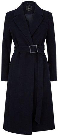 Navy Belted Wrap Coat