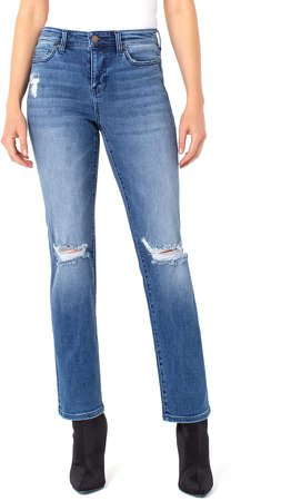 Sadie Ripped High Waist Straight Leg Jeans