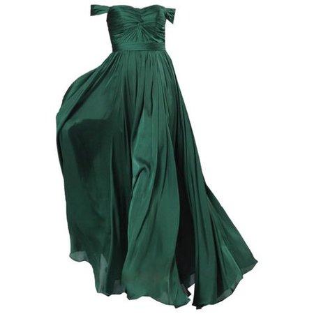 green evening gown dress