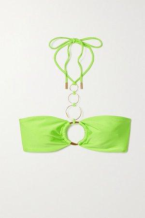 Allie Embellished Halterneck Bikini Top - Bright green