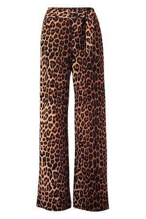 Leopard Print Belted Wide Leg Trouser | boohoo brown