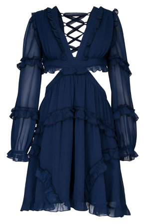 Vici Collection Ruffle Long Sleeve Chiffon Dress | Nordstrom