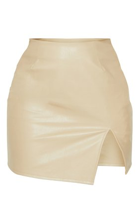 Stone Faux Leather Split Hem Mini Skirt | PrettyLittleThing USA