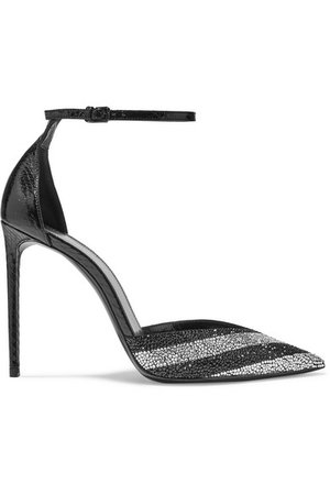 SAINT LAURENT | Zoe striped crystal-embellished watersnake pumps | NET-A-PORTER.COM