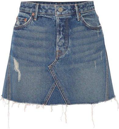 Eva Distressed Denim Mini Skirt - Dark denim