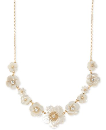 """lonna & lilly Gold-Tone Crystal & Imitation Mother-of-Pearl Flower Statement Necklace, 16"""" + 3"""" extender & Reviews - Necklaces - Jewelry & Watches - Macy's"""