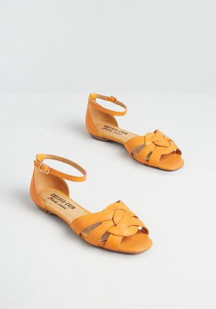 Chelsea Crew Skip a Beat Ankle Strap Flat Mustard | ModCloth