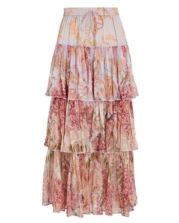 Zimmermann Botanica Tiered Silk Floral Skirt   INTERMIX®