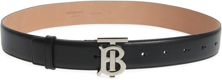 TB Monogram Buckle Leather Belt