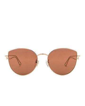 Balenciaga Inception Metal Sunglasses in Shiny Light Gold & Brown | FWRD
