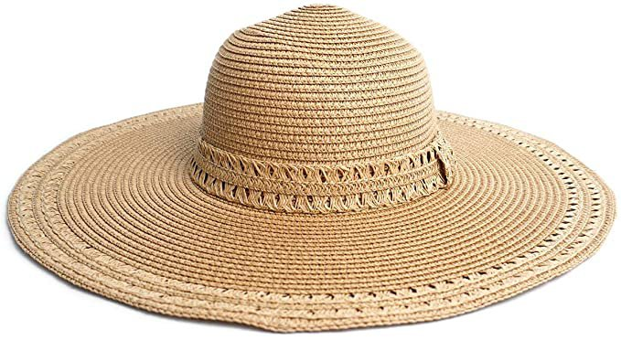 Women's Flat Top Wide Brim Straw Fedora Sun Hats for Women