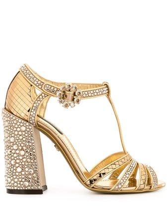 Dolce & Gabbana Rhinestone-Embellished T-Strap Sandals CR0875AJ188 Gold | Farfetch