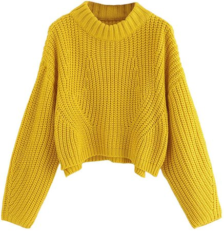 SheIn Women's Mock Neck Drop Shoulder Oversized Batwing Sleeve Crop Top Sweater Small Yellow at Amazon Women's Clothing store