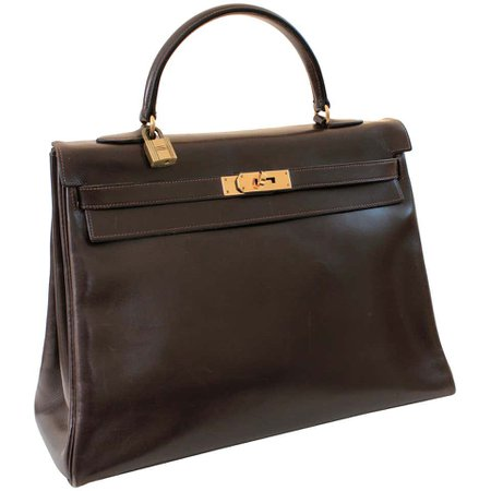 Hermes Kelly Bag 35cm Retourne Sac a Depeches Brown Box Leather Vintage For Sale at 1stdibs