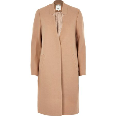 Camel knit collarless longline coat - Coats - Coats & Jackets - women