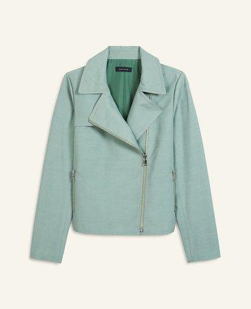 Linen Blend Moto Jacket | Ann Taylor
