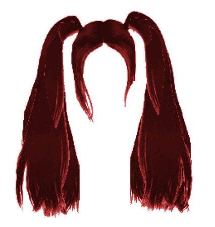 red pigtails hair edit png