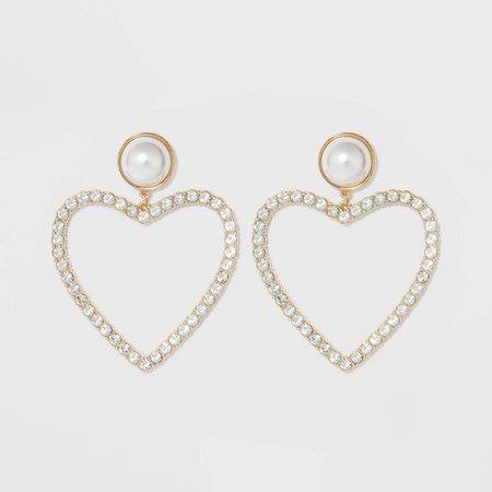 SUGARFIX By BaubleBar Pearl Studs Crystal Heart Hoop Earrings - Pearl : Target