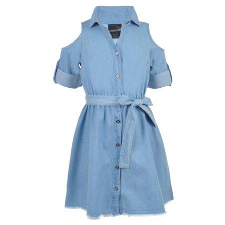 Exposed Shoulder Light Denim Blue Dress