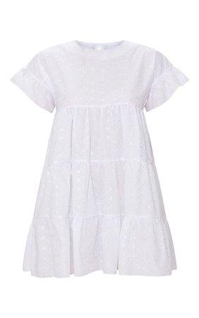 Black Broderie Anglaise Smock Dress | Dresses | PrettyLittleThing
