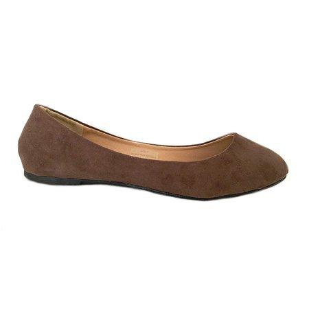 Shoes8teen - Womens Ballerina Ballet Faux Suede Flat Shoes 3 Colors (10, Brown Micro 8600) - Walmart.com - Walmart.com