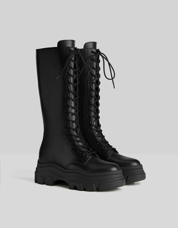 Lace-up boots with track soles - Shoes - Woman | Bershka