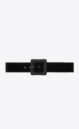 Saint Laurent Corset Belt In Black Velvet And Passementerie  | YSL.com