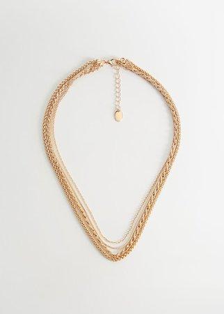 Multiple chain necklace - Women   Mango USA gold