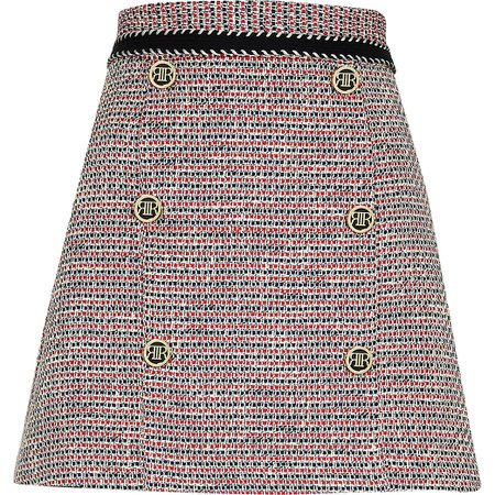 River Island Red boucle button mini skirt