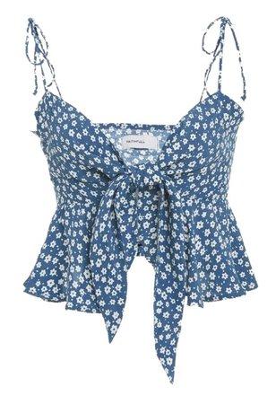 Blue floral babydoll tank top