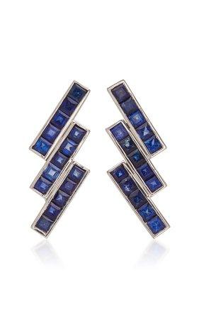TULLIA Blue Sky 14K White Gold Sapphire Earrings