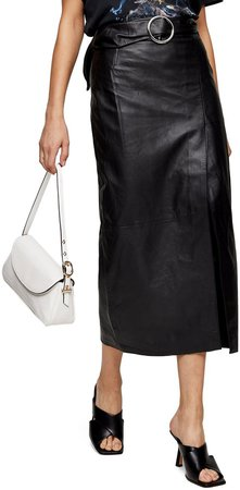 Leather Wrap Pencil Skirt