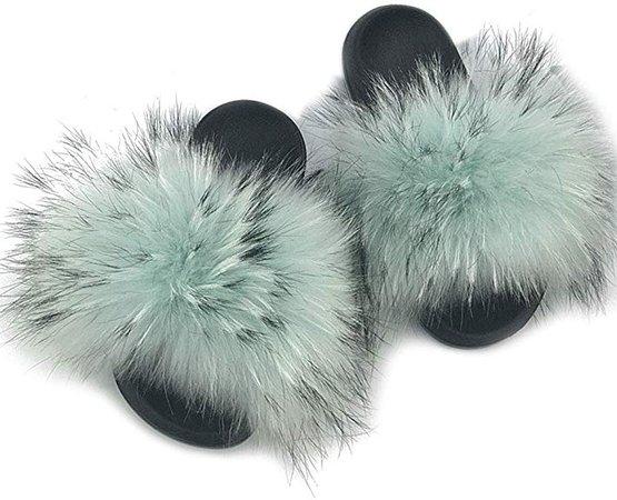 Amazon.com | MAGIMODAC Fur Slippers House Slides Flurry Slides Open Toe Slip On Sandals | Sandals