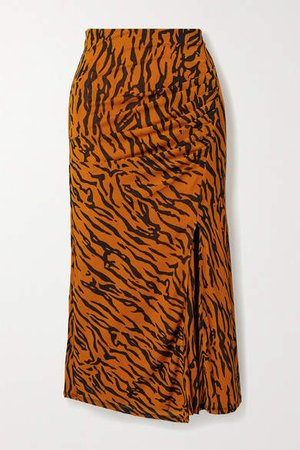 Edna Gathered Tiger-print Stretch-jersey Midi Skirt - Orange