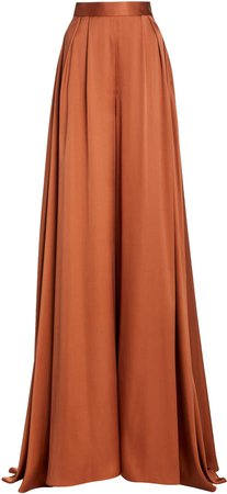 Brandon Maxwell Draped Satin Wide-Leg Pants
