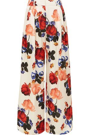 Mother of Pearl | Anita floral-print silk-satin wide-leg pants | NET-A-PORTER.COM