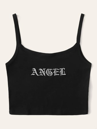 Letter Embroidery Crop Cami   ROMWE