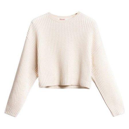Rib Crop Pullover White