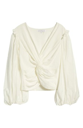 Endless Rose Twist Front Balloon Sleeve Blouse | Nordstrom