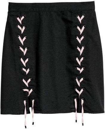 Skirt with Lacing - Black