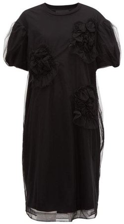 Tulle Overlay Floral Cotton Dress - Womens - Black