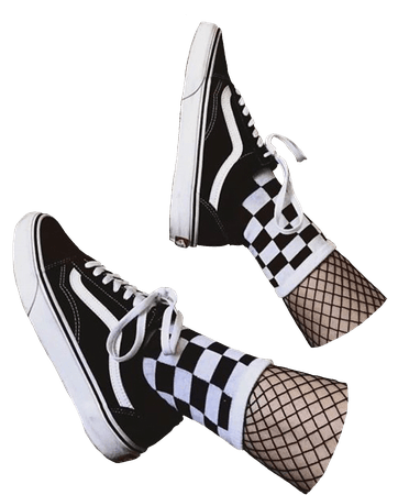 png shoes aesthetic vans and checkered socks and fishnet tights