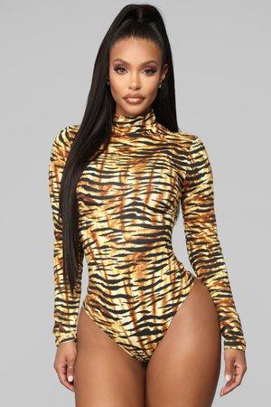 Animal Vibes Bodysuit - Brown