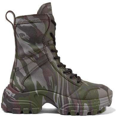 Camouflage-print Textured-leather Ankle Boots - Army green