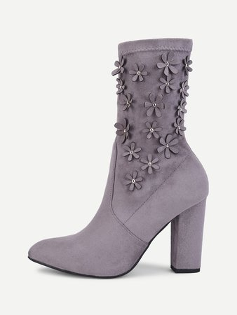 Flower Decorated Suede Ankle Boots