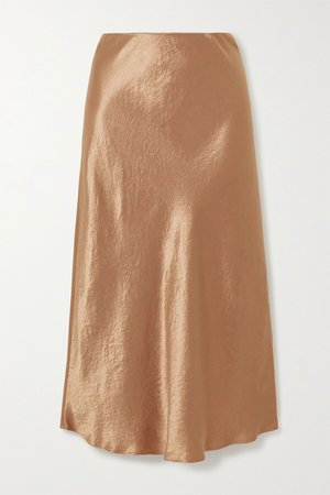Gold Leisure washed-satin midi skirt | Max Mara | NET-A-PORTER